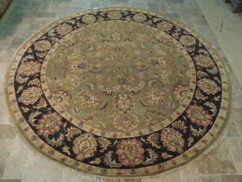 GREEN - BLACK Vegetable Dyed Rug Oriental Hand Woven Rug 8x8 Chobi Round Carpet