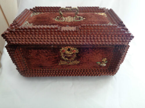 Vintage Tramp Art Jewelry Box With Red Velvet