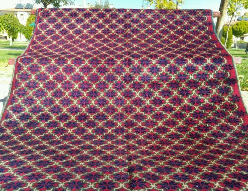 """Antique Armenian Star Patterned Natural Dyes Wool Pile Area Rug 4'7""""x 9'8"""""""