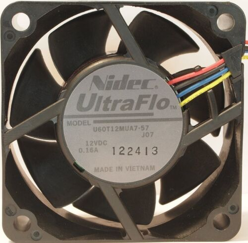 12 Pack Nidec 4-Pin UltraFlo U60T 60mm x 25mm Tube Axial Variable Cooling Fans