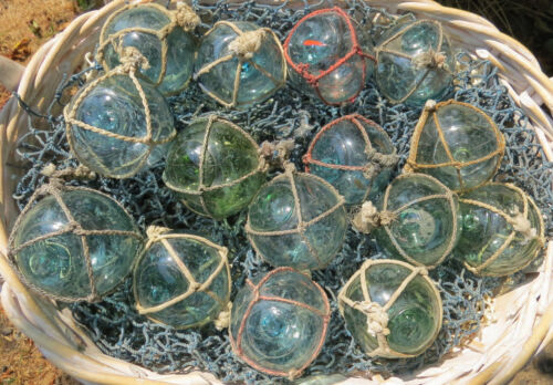 """Japanese Glass Fishing FLOATS 2"""" Netted LOT OF 15 Round Net Buoy Authentic VTG"""