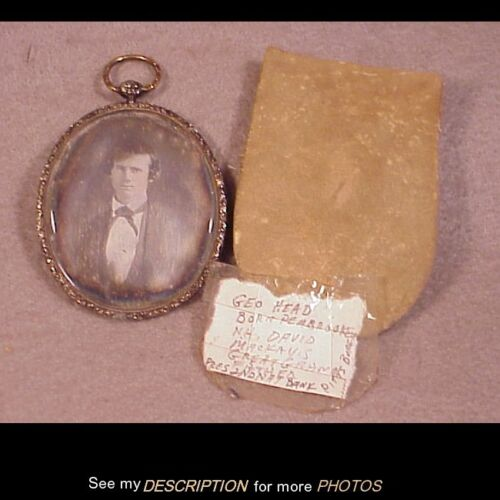 Scarce Oval Identified Daguerreotype in Original Oval Gold Filled Jeweled Case
