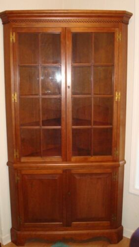 Suter's Handcrafted Solid Cherry Corner Cupboard China Cabinet