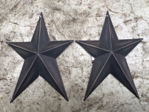 "(Set of 2 ) WHIMSICAL BLACK BARN STARS 8"" PRIMITIVE RUSTIC COUNTRY DECOR"