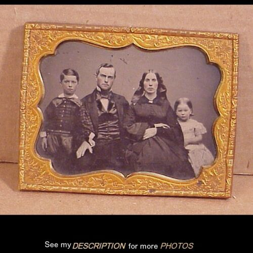 Antique 1/2 plate Ambrotype Well Dressed Family of Four