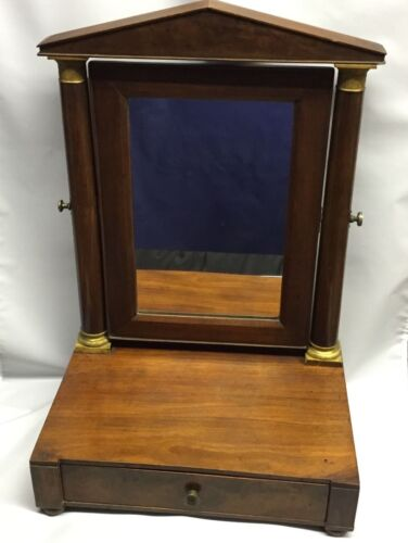 Antique French Empire Shaving Mirror with Drawer