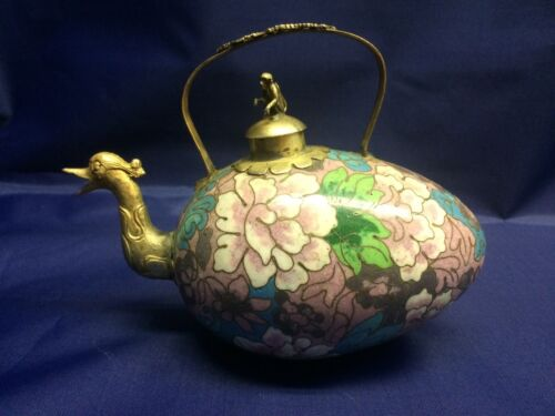 Bronze Chinese Cloisonné Teapot with Bird,  Monkey and Dragon 19th Century