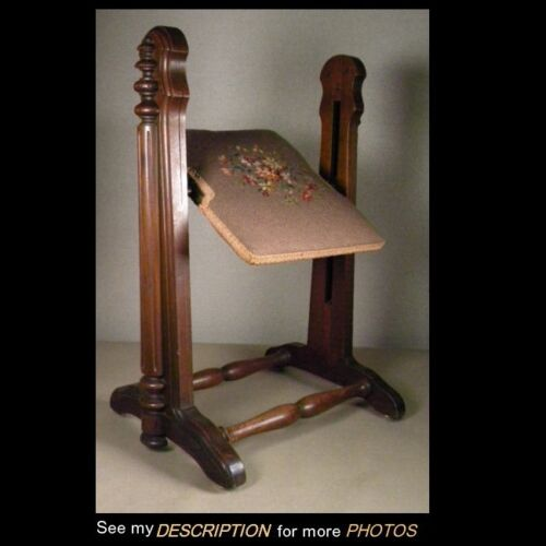 Rare! Antique Victorian Walnut Mechanical Revolving FOOTSTOOL gout stool