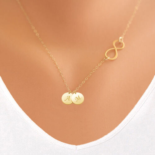 Personalized Infinity Necklace with Initial Monogram Disc 14K Gold Filled