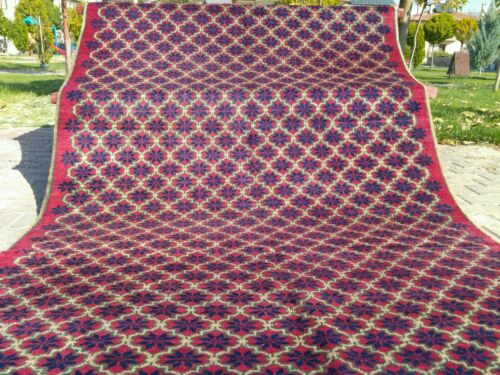 Antique Armenian Star Patterned 4'7''x9'8'' Natural Dyes Wool Pile Area Rug