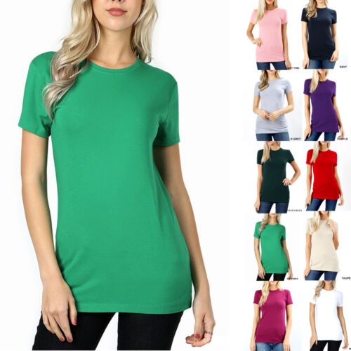 SHORT SLEEVE CREW NECK Basic Women T-Shirt Cotton Long Top Fitted Plain Stretch