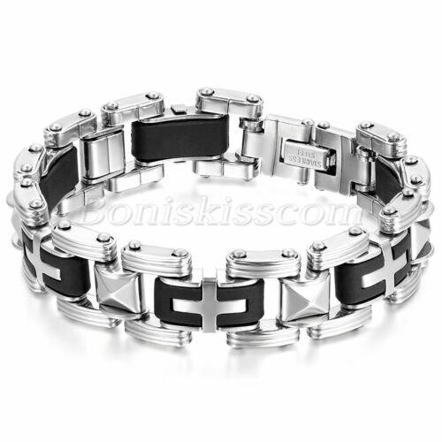 Men's Fashion Stainless Steel Rubber Motorcycle Chain Bangle Charm Cuff Bracelet
