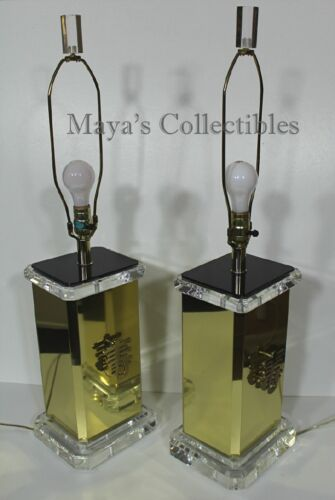James Mont Mid Century Pair Lamps Brass & Lucite Asian Theme Rare!