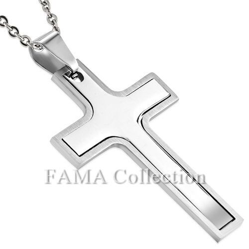 FAMA Stainless Steel 2 Part Cut Out Cross Pendant + Steel Chain Necklace