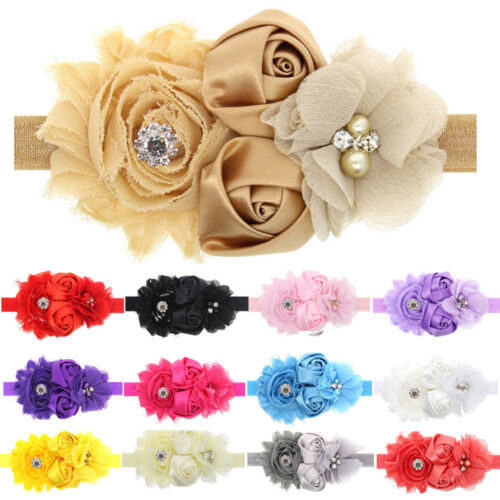 New Baby Girls Lace Sunflower Rose Flowers Pearl Rhinestone Hair Band Headband