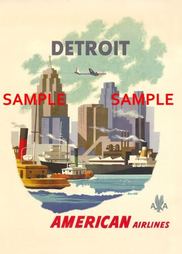 """American Airlines (  DETROIT ) 11"""" x 17"""" Collector's Travel Poster - B2G1F"""