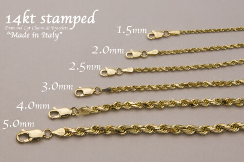 "14K SOLID YELLOW GOLD 1.5MM-9MM MEN'S WOMEN ROPE CHAIN NECKLACE SIZE 16""-36"""