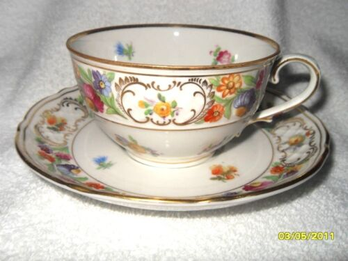 VINTAGE FLORAL T CUP-SAUCER US ZONE GERMANY GOLD TRIM