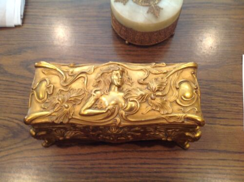 "Art Nouveau Fabulous Dresser Box Jewelry Casket Trinket Box ""JB"" Signed 9.5x 4.5"
