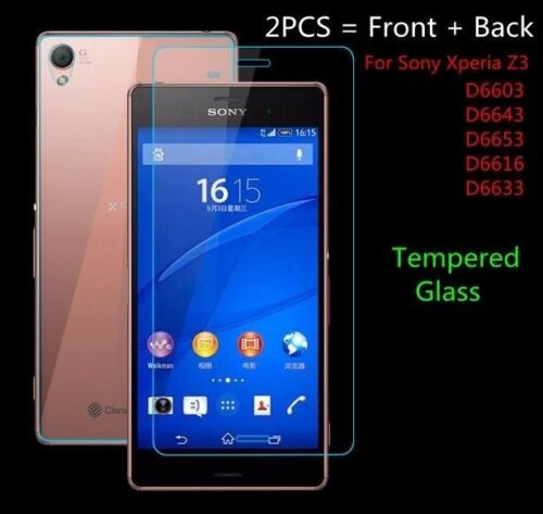 Front + Back Genuine Tempered Glass Screen Protector For Sony Xperia Z3