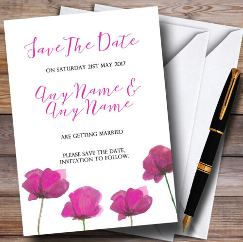 Stunning Watercolour Poppies Pink Personalised Wedding Save The Date Cards
