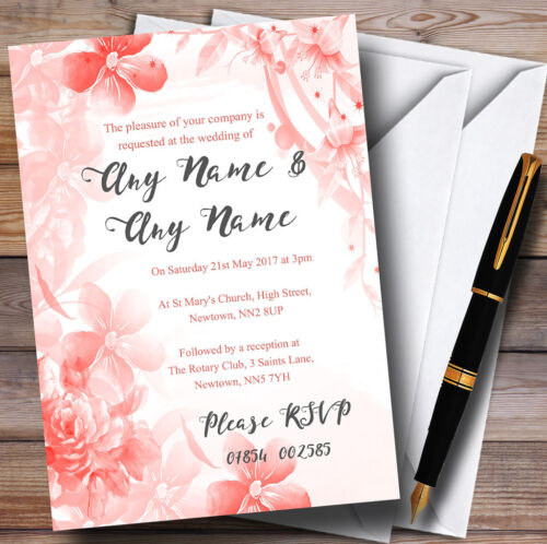 Coral Watercolour Floral Personalised Wedding Invitations