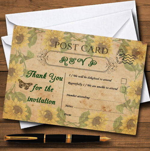Sunflowers Vintage Shabby Chic Postcard Personalised Rsvp Cards
