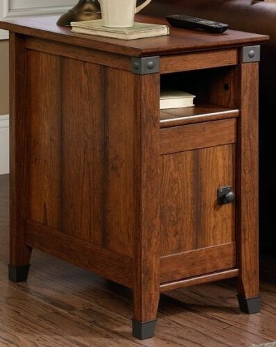 End Table Vintage Side Cherry Wood Night Stand Storage Cabinet Shelf Iron New