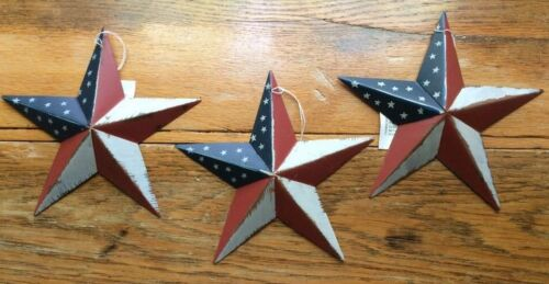 "(Set of 3 )  8"" PATRIOTIC AMERICANA COUNTRY G8T W BLACK BARN STARS AMERICAN"