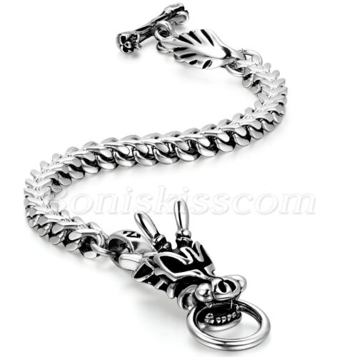 Men's Biker Stainless Steel Heavy Dragon Head Cuban Chain Bracelet Wrist Link