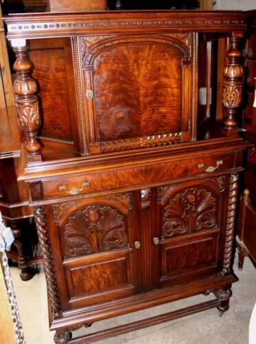 Antique Jacobean Buffet with Blind Door China Hutch, Flamed Mahogany