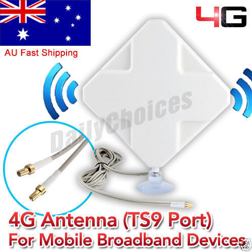 35dBi 3G 4G LTE Dual ANTENNA BOOSTER AERIAL TS9 plug&Cable Telstra Huawei Y