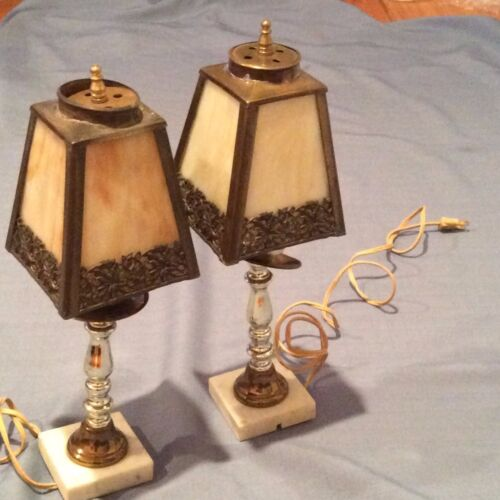 Two Boudoir Slag Lamps with Marble Bases