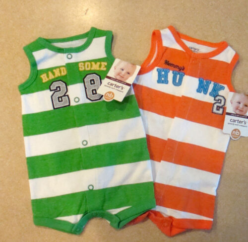 """Baby Boys NEW Infant Sunsuit Romper Creeper Carters """"Handsome"""" """"Hunk"""" Newborn"""