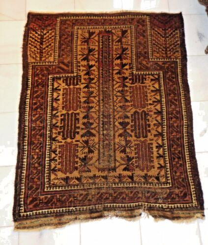 """ANTIQUE 19th CENT BALOUCH PRAYER RUG WITH TREE OF LIFE & """"DRAGONS"""" 4'2x3'2"""