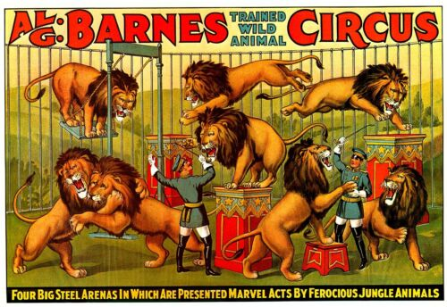 TRAINED WILD ANIMAL Vintage Circus Show Poster CANVAS PRINT 32x24 in.