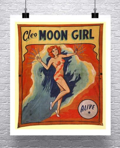 Moon Girl Vintage Freak Show Poster Rolled Canvas Giclee Print 24x28 Inches