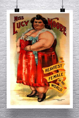 Worlds Heaviest Female Vintage Freak Show Poster Rolled Canvas Giclee 24x34 in.
