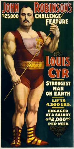 Strongest Man on Earth Vintage Circus Poster Rolled Canvas Giclee Print 24x44 in