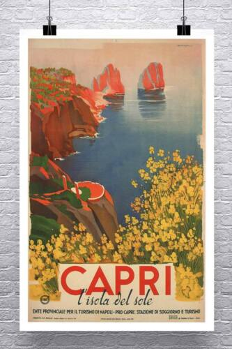 Capri 1948 Vintage Italian Travel Poster Rolled Canvas Giclee Print 24x36 in.