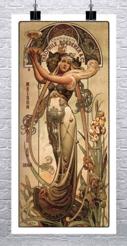 Champagne 1864 Vintage Advertising Poster Rolled Canvas Giclee Print 17x33 in.