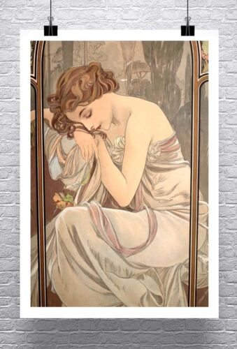 Slumber Alphonse Mucha Art Nouveau Rolled Canvas Giclee Print 24x32 in.