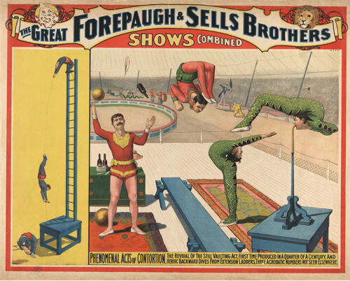 Phenomenal Acts of Contortion, 1899 Vintage Circus Poster CANVAS PRINT 29x24 in.