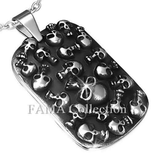 FAMA Stainless Steel Multi Skull Dog Tag Biker Pendant + Steel Chain Necklace