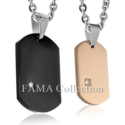 FAMA Stainless Steel 2-Piece Dog Tag Couples Pendants + Steel Chain Necklace