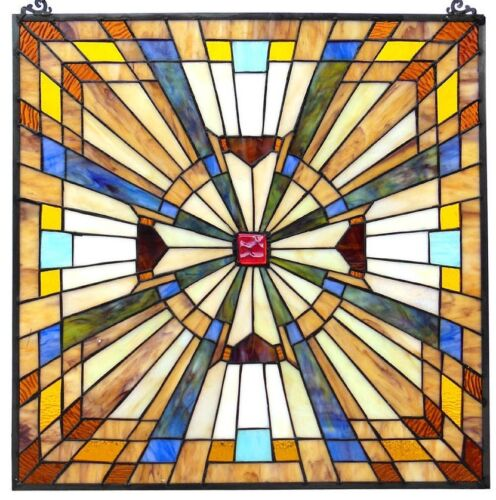 """24"""" SPARKLING JEWELED STAINED GLASS WINDOW PANEL W/ FLARE MISSION COLLECTION"""