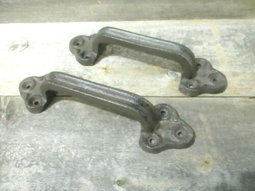 2 Rustic Cast Iron Handles Door Hardware Pull Gate Shed Drawer Cabinet Barn Shed