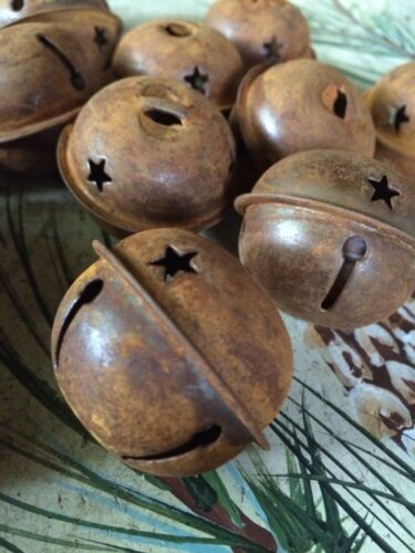"(SET OF 12) JINGLE BELLS 1.5"" 1 1/2 in Primitive Rusty Tin 38mm Christmas Crafts"
