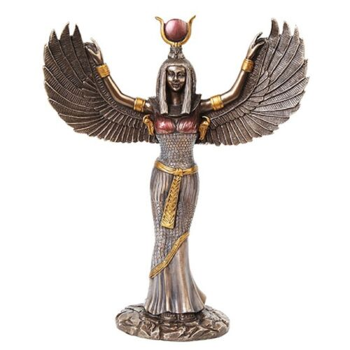 """11.8"""" Egyptian Winged Ancient Egypt sculpture Statue regal mother Goddess"""