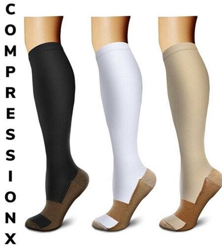 (3 Pairs) (S-XXXL) Copper Compression Support Socks 20-30mmHg Knee High Unisex <br/> 🧦 NEW 3XL SIZE 🧦   ✈️ FREE SHIPPING ✈️